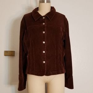 Brown Snap Button Courderoy Jacket Size XL